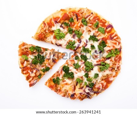 pizza isolated cut - stock photo