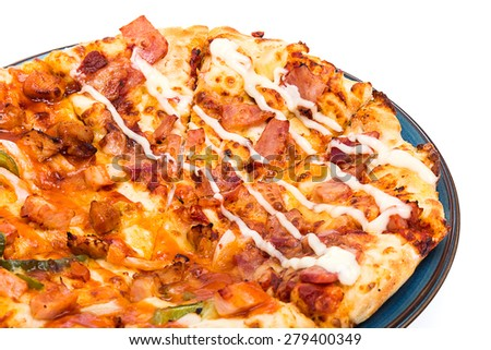 pizza isolated in black plate on white background - stock photo