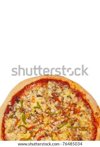 Pizza isolated on a white background. Shot in a studio - stock photo