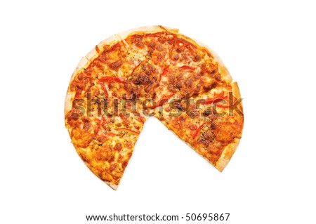 Pizza isolated on the white background - stock photo