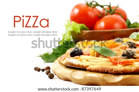 pizza isolated on white - stock photo