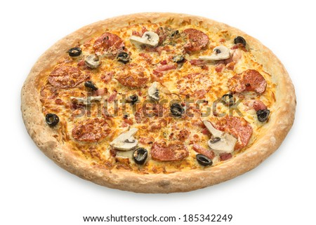 Pizza isolated on white background - stock photo
