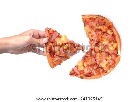 pizza isolated on white background - stock photo
