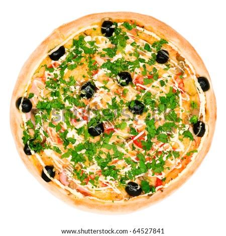 Pizza. Isolated on white background - stock photo