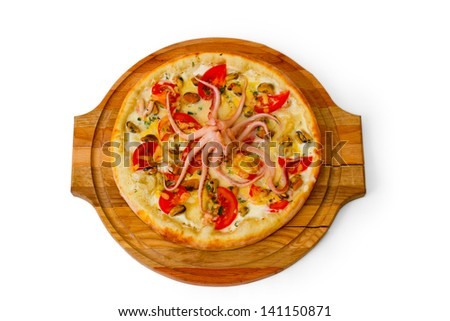 pizza isolated white a octopus cheese food italian tomato meal fast dinner baked crust