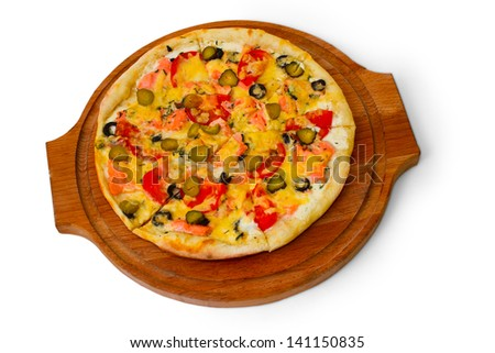 pizza isolated white cucumber food cheese italian a tomato meal fast dinner baked crust