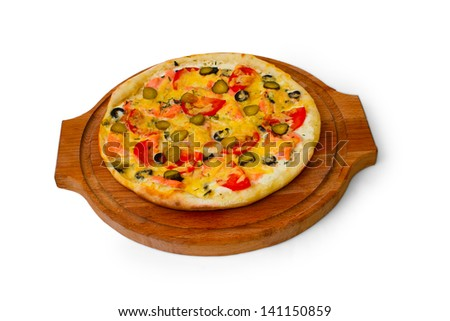 pizza isolated white cucumber food cheese italian tomato meal fast dinner baked crust