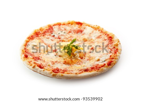 Pizza made with Mozzarella, Parmesan Cheese and Tomato Sauce - stock photo