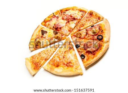 Pizza made with Salami, Mozzarella, Olives and Tomato Sauce, isolated over white