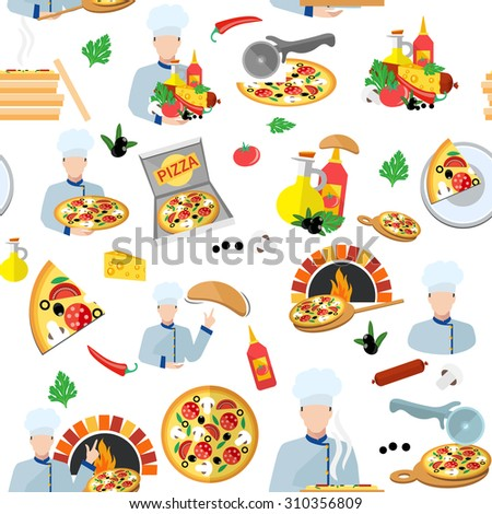 Pizza maker seamless pattern with fresh food box and chef cook  illustration - stock photo