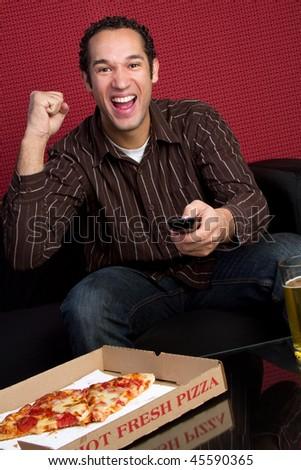 Pizza Man Cheering - stock photo