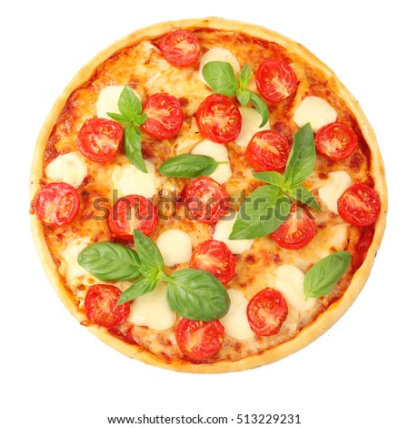 Pizza Margarita Isolated On White Top View