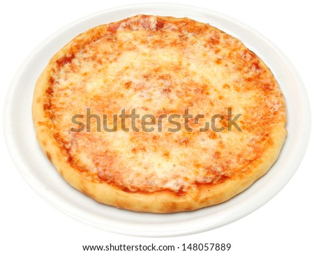 Pizza Margarita with cheese tomatoes olive oil and oregano isolated - stock photo