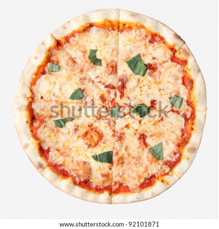 Pizza margherita isolated over white background. Top view. - stock photo