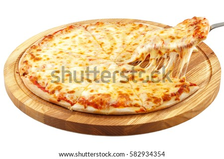 Pizza Margherita Mozzarella Isolated On White Background