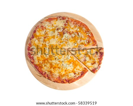 Pizza margherita on board on white ground - stock photo