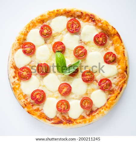 Pizza Margherita on white background top view - stock photo
