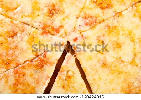 Pizza Marguerita  on a wooden board - stock photo