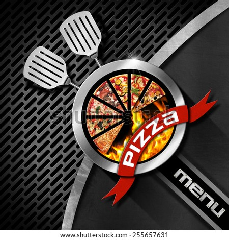 Pizza menu design with metallic round pizza symbol on dark metal background with grill and kitchen utensils - stock photo