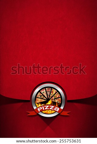 Pizza menu design with metallic round pizza symbol on red velvet background with shadows. Template for a pizza menu - stock photo