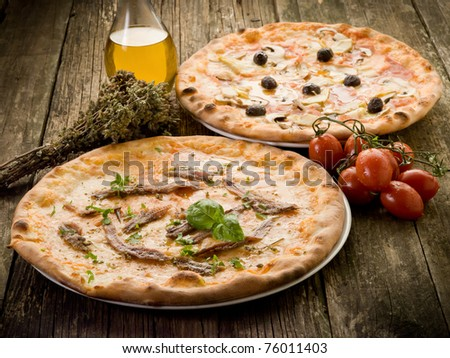 pizza napoli and capricciosa - stock photo