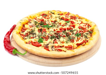 Pizza on a wooden board isolated on white background.