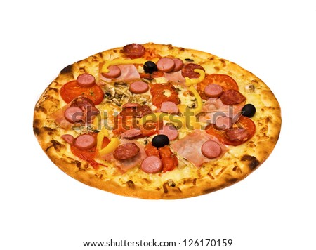 pizza on Bavarian, isolated, on the white - stock photo