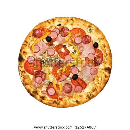 pizza on Bavarian, isolated, on the white