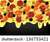 Pizza on black background with place for text. Raster version. - stock photo