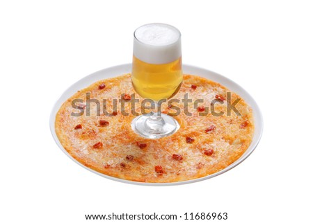 pizza on plate, beer in goblet, white background, isolated - stock photo