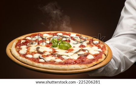 Pizza on the hand - stock photo