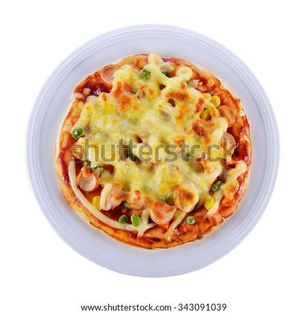 Pizza on white background. - stock photo