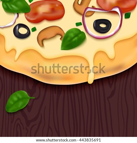Pizza on Wooden Table. Fast Food Delicious Background. Realistic Snack Illustration. Colorful Design Concept for Pizzeria Menu, Web Banners or Packaging. - stock photo