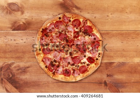 Pizza on wooden table top view. Fast food Delicious. Post blog social media. View from above with copy space. Banner template layout mockup top view on pizza. Pizza ready to eat. - stock photo