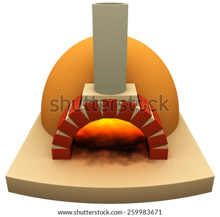 Pizza oven, 3d render isolated on white - stock photo