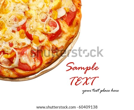 Pizza over white background - stock photo