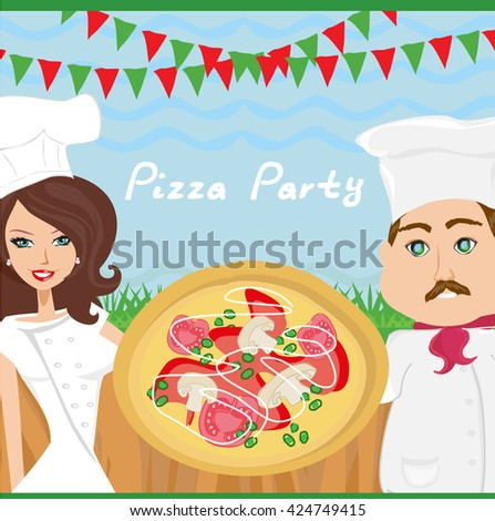 Pizza party poster - stock photo