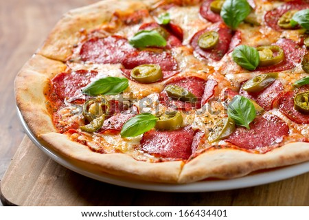 pizza pepperoni - stock photo