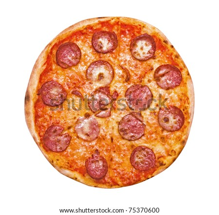 Pizza Pepperoni isolated on white - stock photo