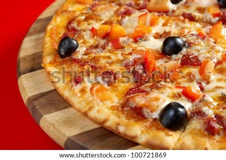 Pizza Pepperoni .italian kitchen. Studio - stock photo