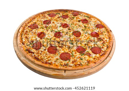 pizza pepperoni on a wooden board