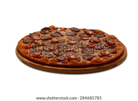 Pizza Pepperoni. On white background