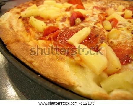 Pizza, Pepperoni & Pineapple - stock photo