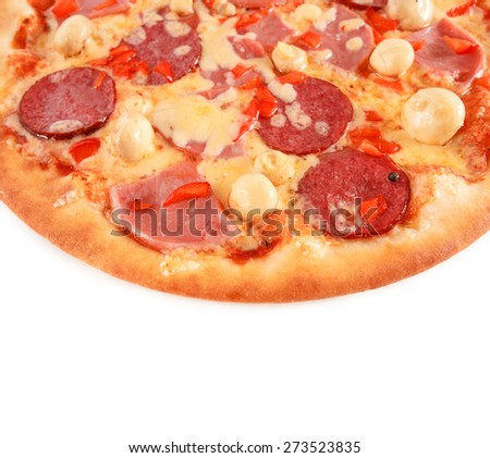 Pizza Pepperoni with salami, pastrami, ham, mushrooms and pepper isolated on white - stock photo