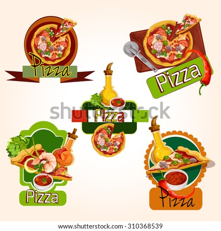 Pizza restaurant menu emblems set with ingredients oil and seasoning isolated  illustration - stock photo