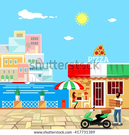 Pizza restaurant with terrace in front. Man delivers pizza. Calm place in city center. Woman eats pizza at the table. Pizzeria building . Summer facade. Midday. Hot weather. illustration - stock photo