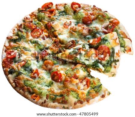 Pizza rucoli chery tomatoes mozzarella aragula on white background. Clipping path included - stock photo