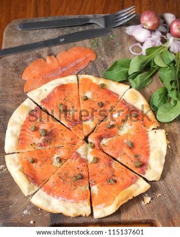 Pizza Salmon - stock photo