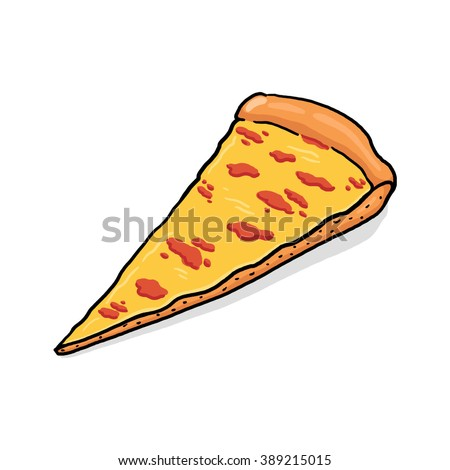 Pizza slice illustration; Cheese Pizza - stock photo