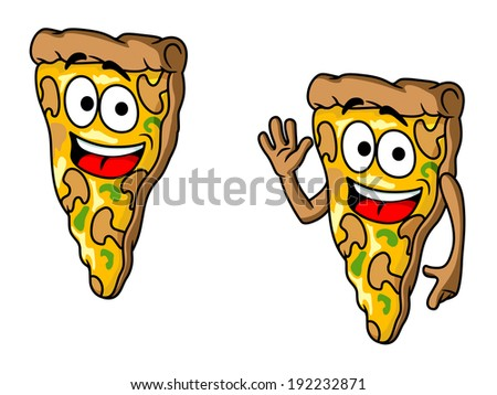 Pizza slice in cartoon style for fast food design. Vector version also available in gallery - stock photo